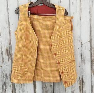 Vintage Gold Suit Vest Skirt  Voguemont Wool Plaid